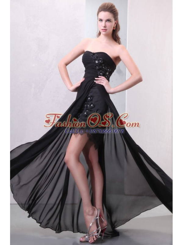 Sweetheart Hand Made Flowers and Silt Chiffon Black Prom Dress