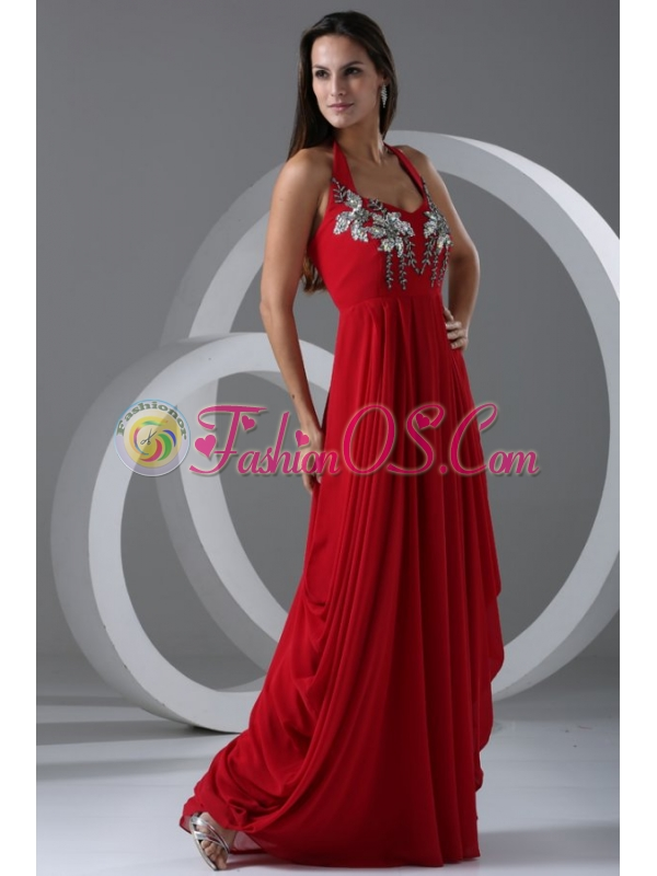 Wine Red Empire Halter Top Prom Dress with Beading