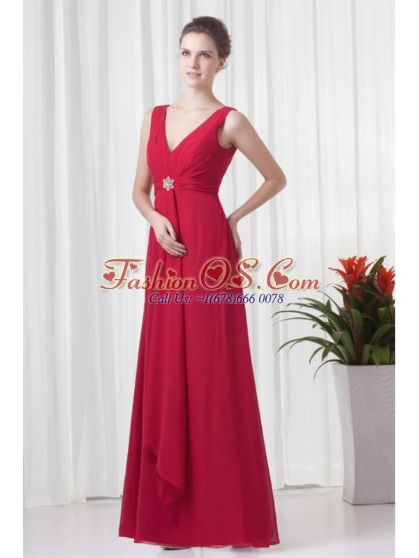 2014 Cheap Empire V-neck Chiffon Red Beading Prom Dress
