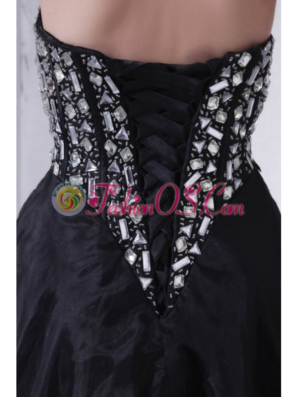 A-line Sweetheart Black Organza Long Prom Dress with Rhinestone