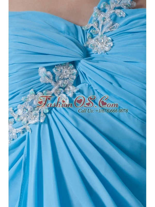 Aqua Blue Empire One Shoulder Appliques Chiffon Prom Dress with Criss Cross