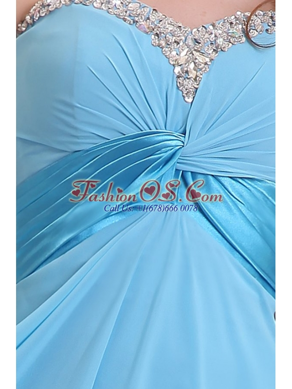 Baby Blue Sweetheart Beading and Ruching Chiffon Prom Dress