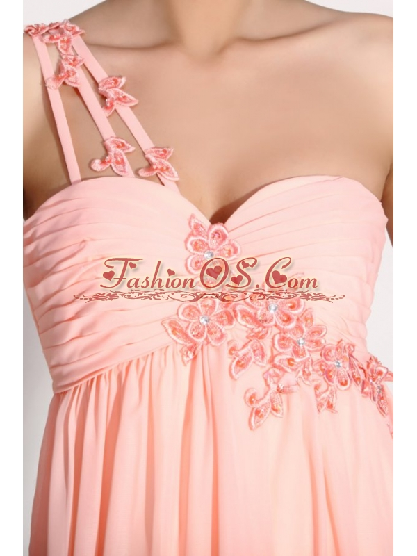 Baby Pink Empire One Shoulder Appliques and Ruching Prom Dress