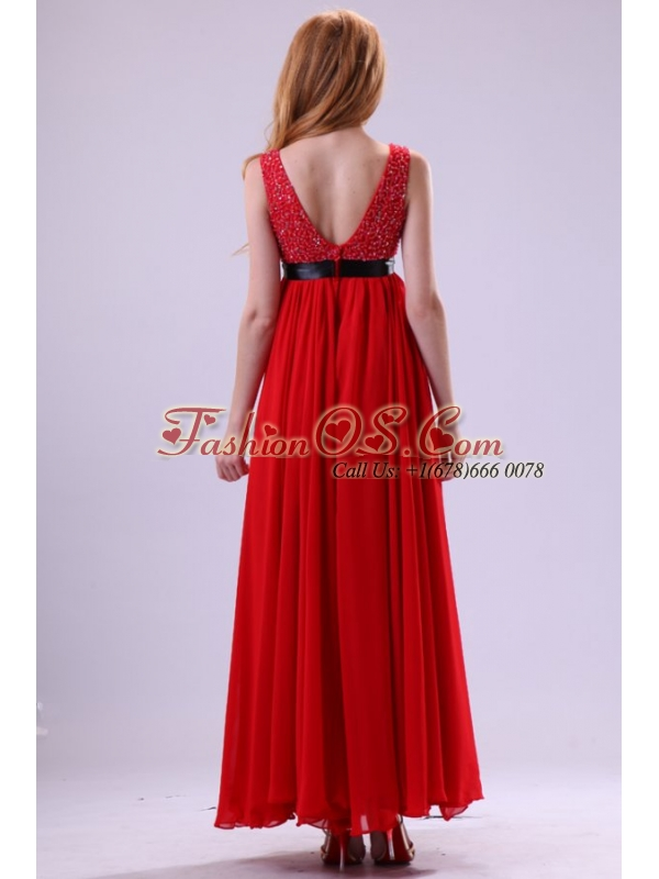Beading Ankle-length V-neck Chiffon 2014 Prom Dress in Red