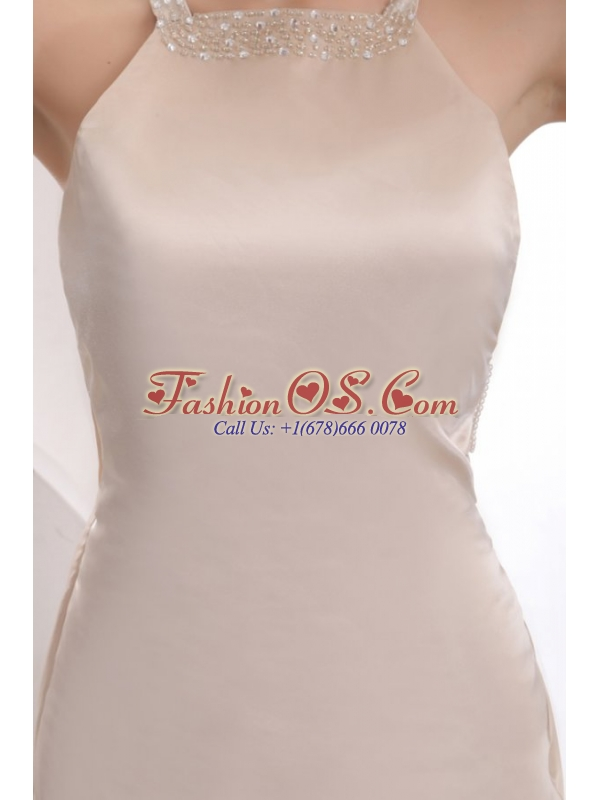 Champagne Column Straps Backless Prom Dress with Beading