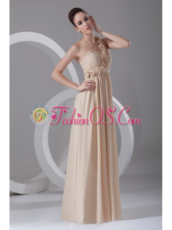 Champagne Empire One Shoulder Chiffon Hand Made Flowers Prom Dress