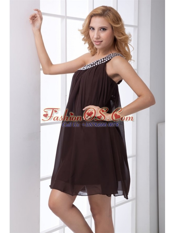 Cheap Empire One Shoulder Brown Side Zipper Mini-length Beading Prom Dress