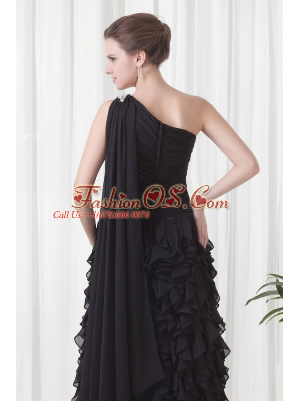 Column One Shoulder Black Watteau Train Chiffon Ruffles Prom Dress