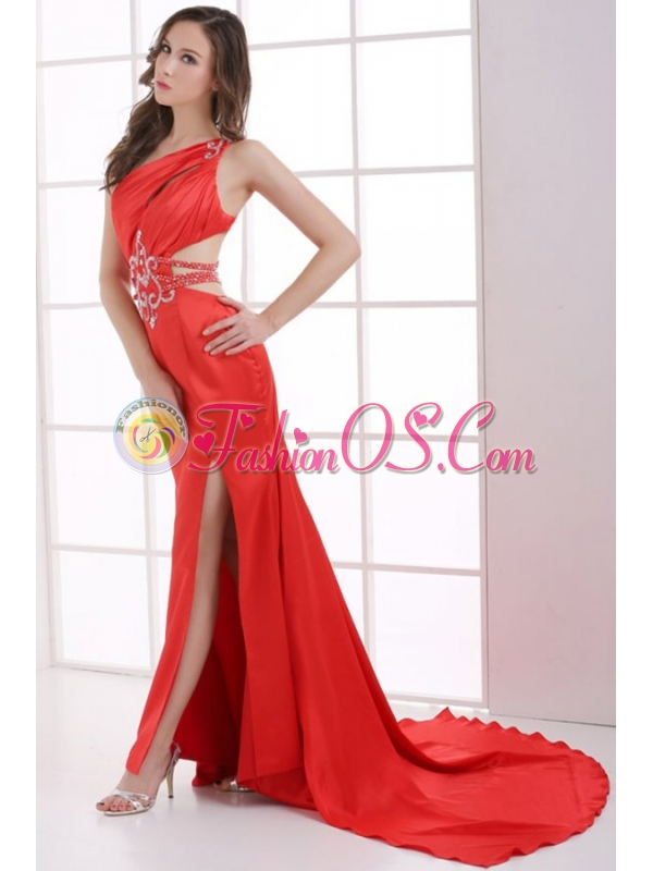 Column Wine Red One Shoulder Beading High Slit Ruching Prom Dress