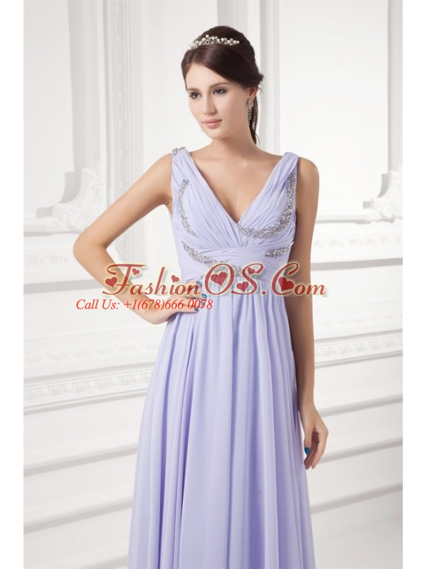 Elegant Empire Lavender V-neck Long Chiffon Prom Dress with Beading