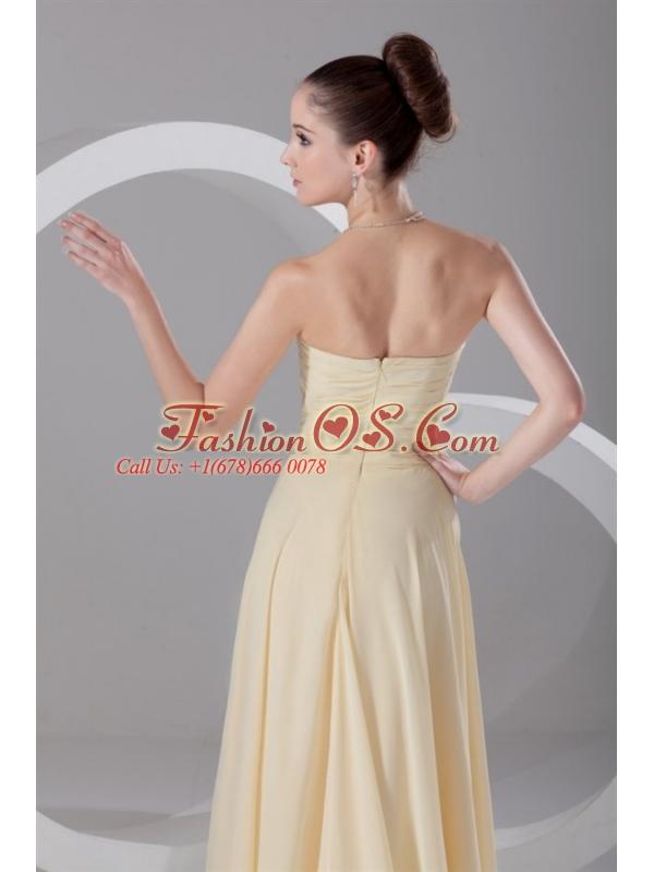 Elegant Empire Sweetheart Floor-length Champagne Ruching Chiffon Prom Dress
