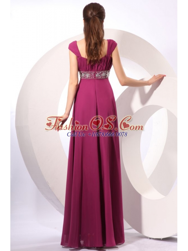 Empire Purple Straps Beading Chiffon Floor-length Prom Dress
