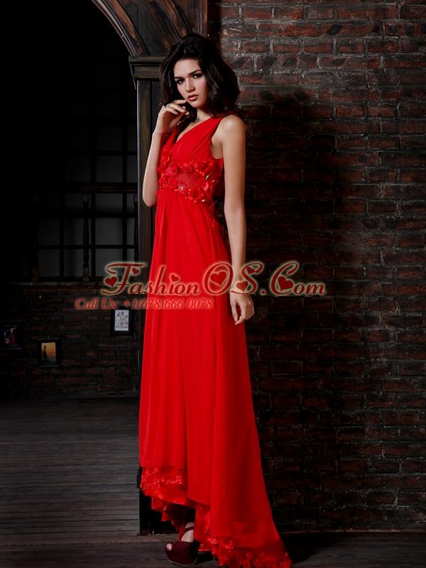 Empire V-neck Red Chiffon Floor-length Hand Made Flowers Side Zipper Prom Dress