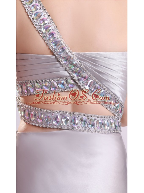 Grey Column One Shoulder Beading Elastic Woven Satin Watteau Train Criss Cross Prom Dress