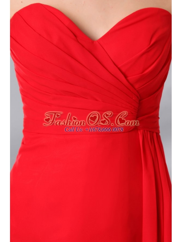 Red Sweetheat High Slit Sexy Seetheart Prom Dress with Side Zipper