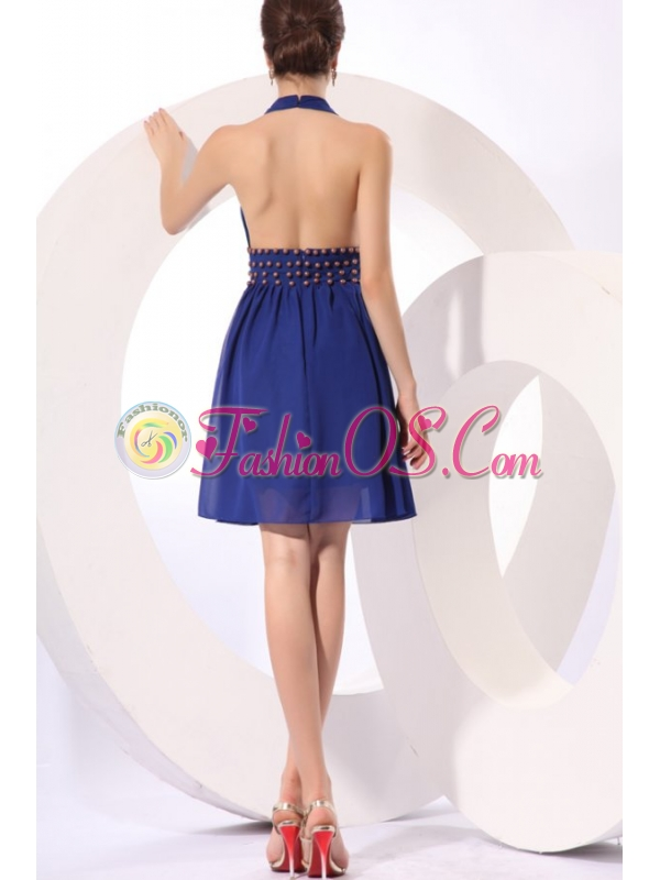 Royal Blue Halter Top Knee-length Prom Dress with Beading