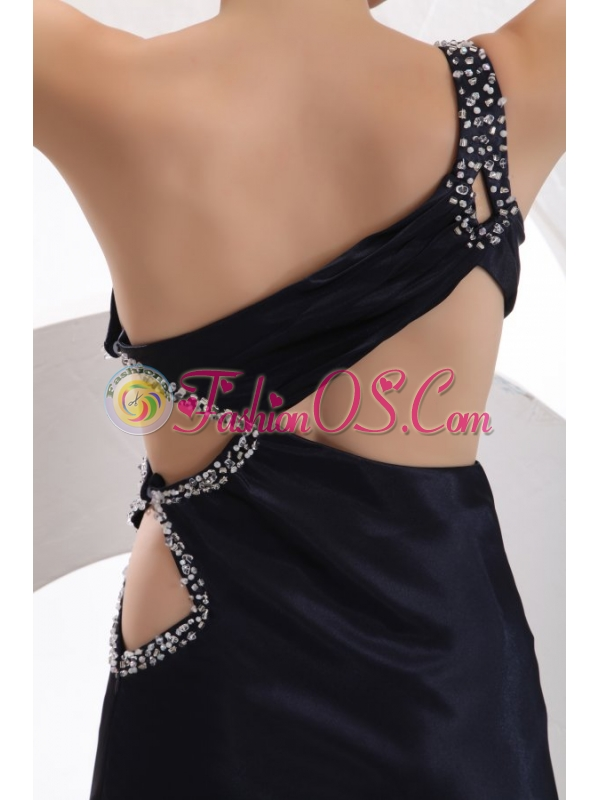 Sexy Column One Shoulder Ankle-length Beading Navy Blue Prom Dress with Criss Cross