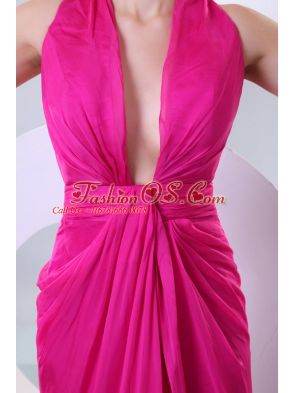Sexy Fuchsia Column V-neck Criss-cross Prom Dress with Ruche