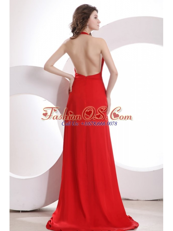Simple Empire Halter Chiffon Red Brush Train Prom Dress