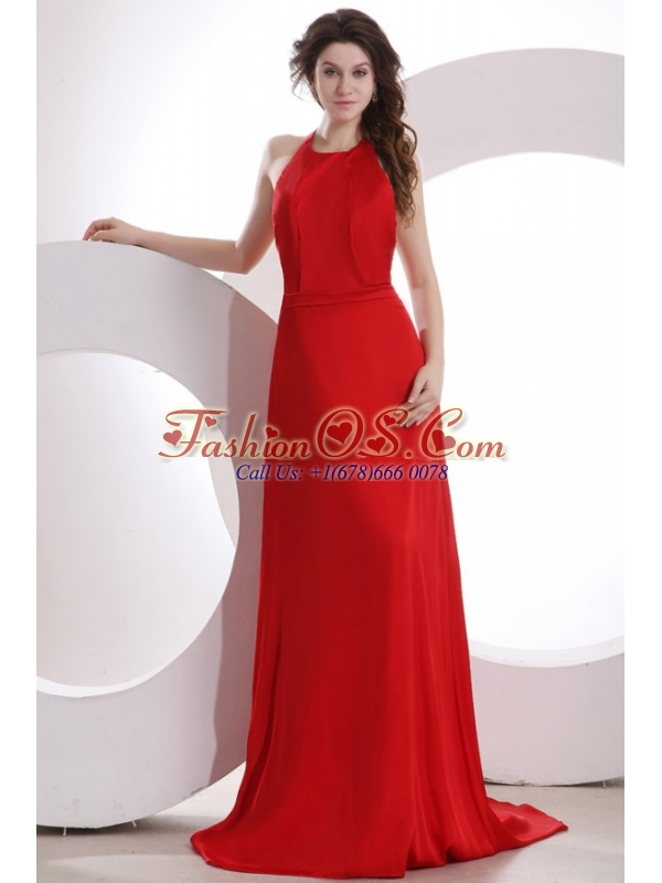 Simple Empire Halter Chiffon Red Brush Train Prom Dress