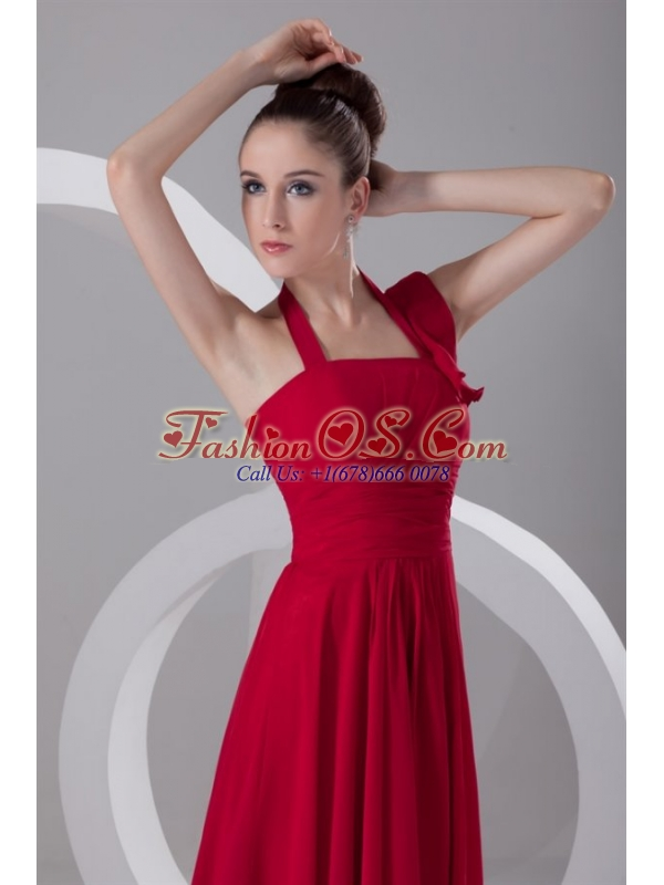 Simple Empire Halter Red Floor-length Ruching Chiffon Prom Dress