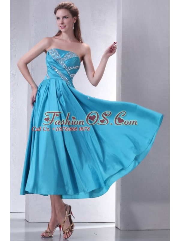 Teal Empire Strapless Tea-length Prom Dress with Beading
