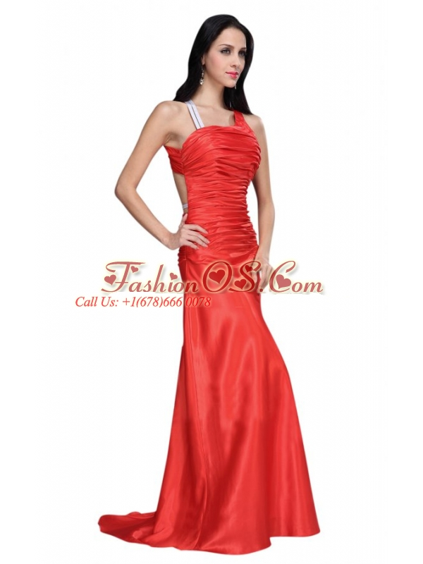 Asymmetrical Column Red Ruche Prom Dress with Sweep Train