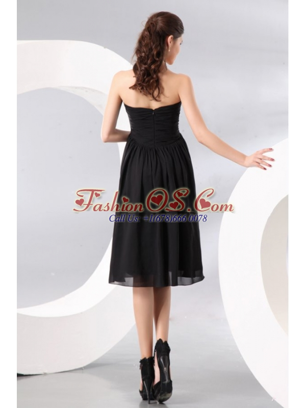Black Sweetheart Beading and Ruching Empire Prom Dress