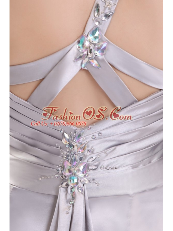 Column Beading and Ruching High Slit One Shoulder Watteau Train Prom Dress