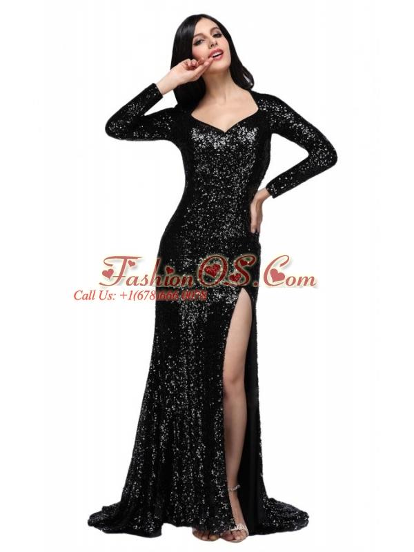Column Black Square Long Sleeves Sequins High Slit Brush Train Prom Dress