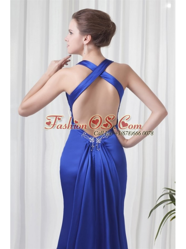 Column Halter Watteau Train Royal Blue Beading Prom Dress with Criss Cross