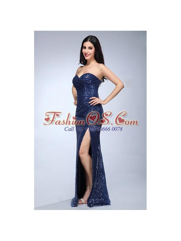Column Navy Blue Sweetheart Sequins Floor-length High Slit Prom Dress