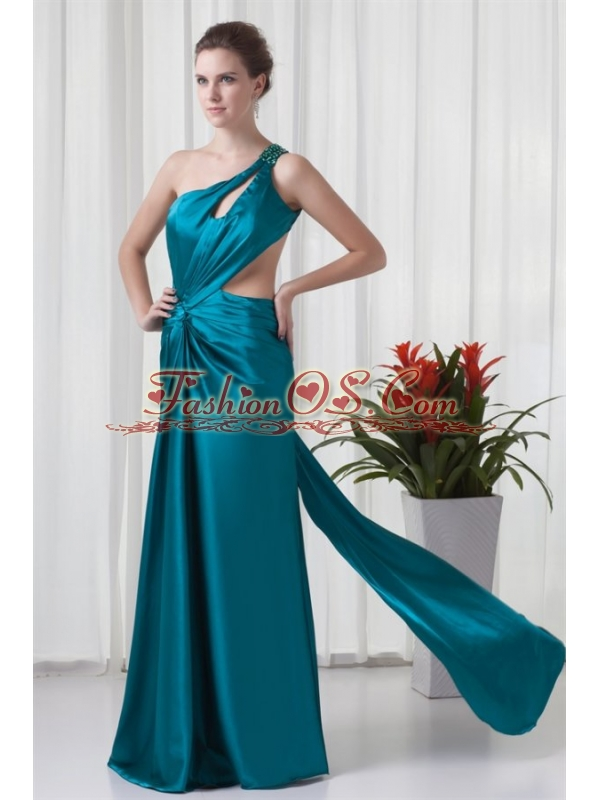 Column One Shulder Teal Ruching Elastic Woven Satin Prom Dress with Criss Cross