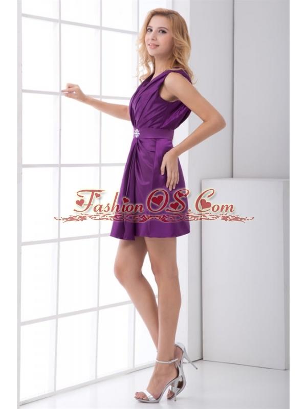Column Purple V-neck Mini-length Taffeta Ruching Prom Dress