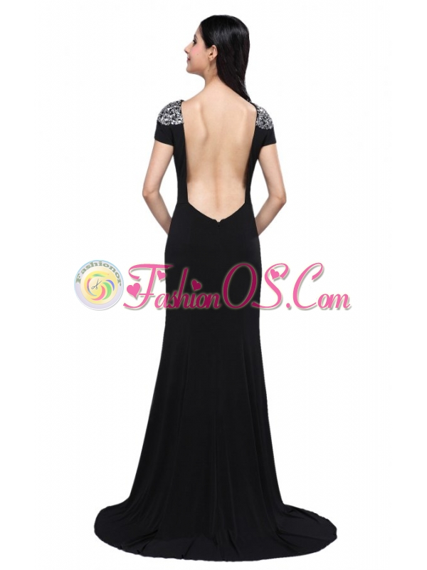 Column Scoop Cap Sleeves High Slit Brush Train Beading Prom Dress
