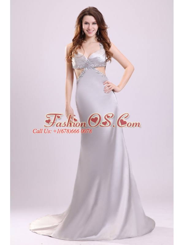 Column Straps Beading Satin Brush Train Gray Prom Dress