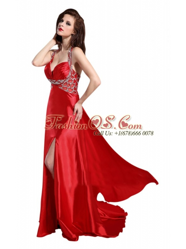 Column Straps Wine Red Beading and Ruching High Slit Prom Dress