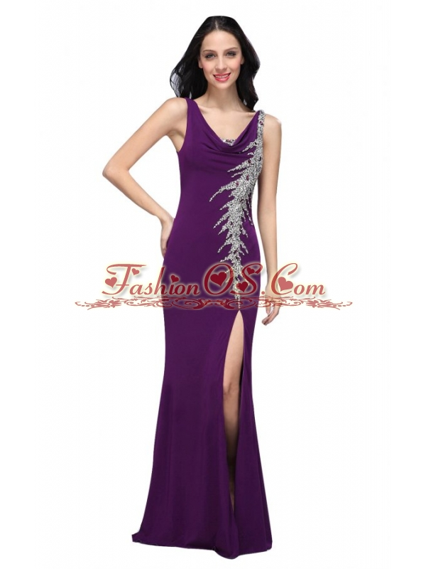 Column V-neck Purple Beading High Slit Chiffon Floor-length Prom Dress