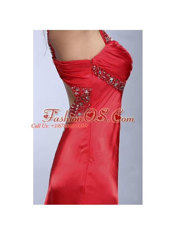 Column Wine Red Beading and Ruching Taffeta Prom Dress