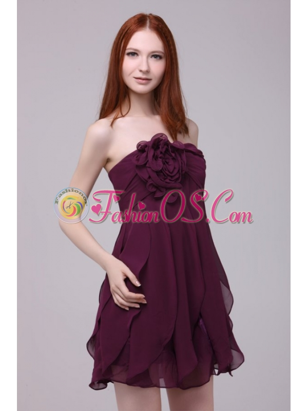 Drak Purple Strapless Hand Made Flower Short Prom Dress