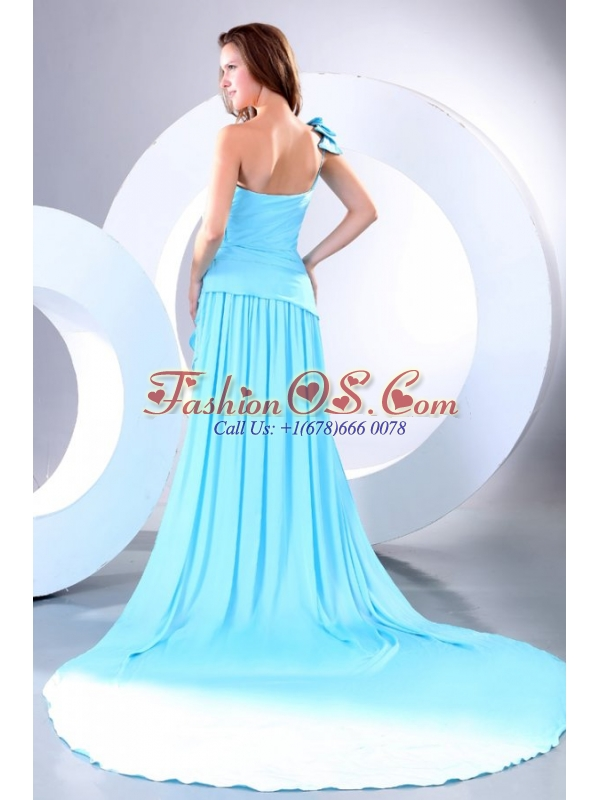 Empire One Shoulder Aqua Blue Watteau Train Prom Dress with Bowknot