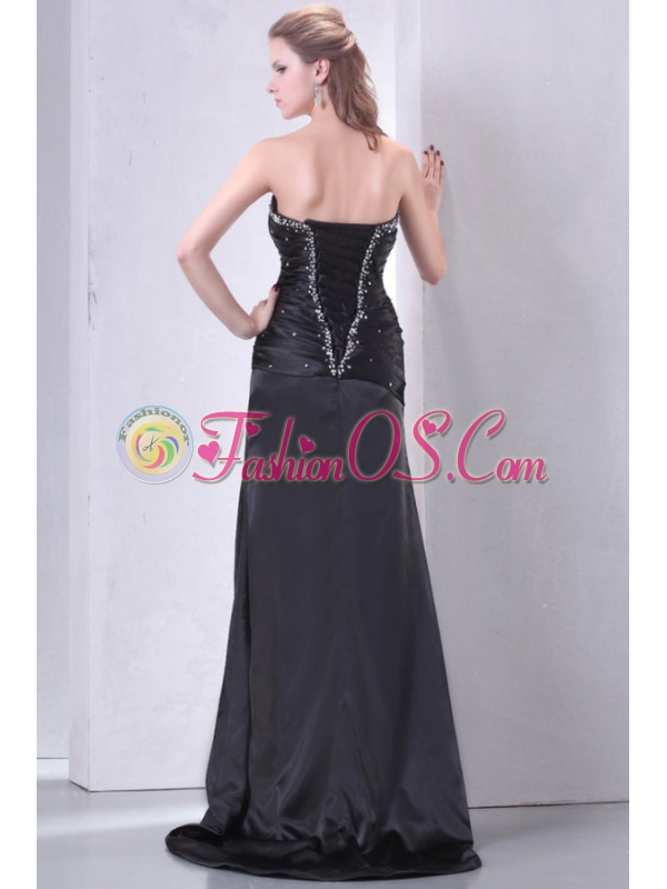 High Slit Black Sweetheart Prom Dress with Beading and Ruching