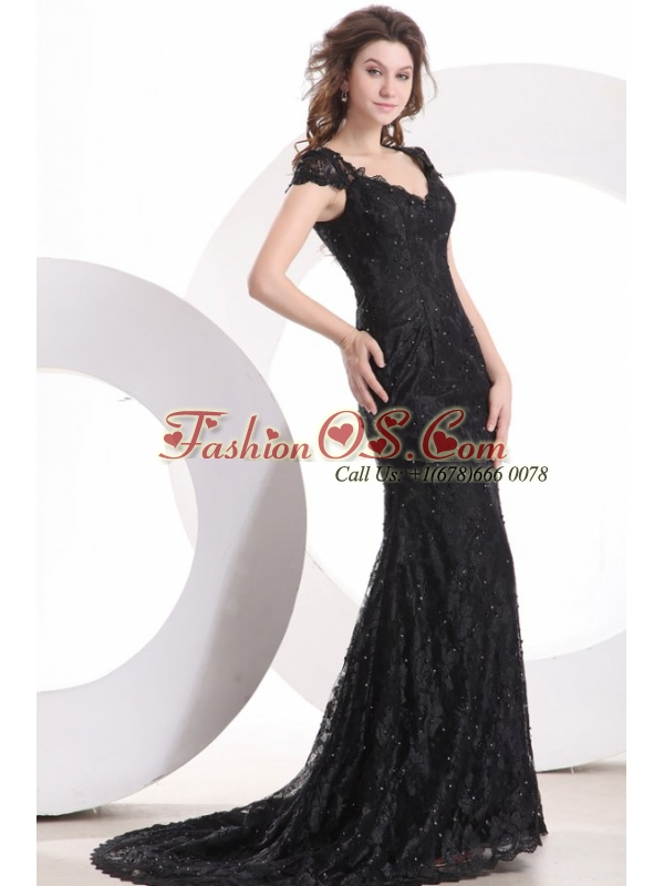 Lace Black Column V Neck Brush Train Prom Dress with Zipper Up