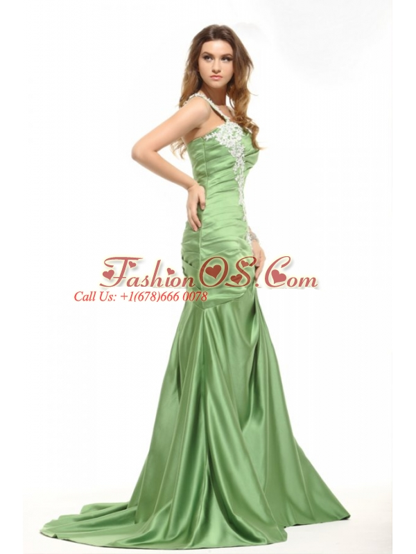 Mermaid One Shoulder Olive Green Prom Dress with White Appliques ...