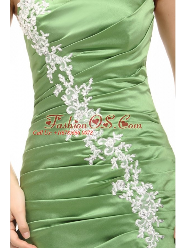 Mermaid One Shoulder Olive Green Prom Dress with White Appliques