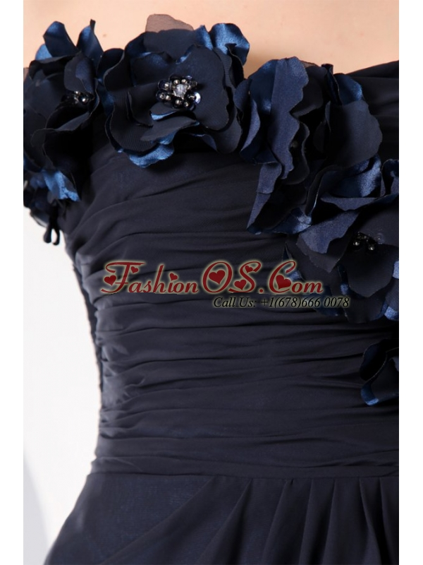 Navy Blue Strapless Hand Made Flowers Prom Dress for 2013
