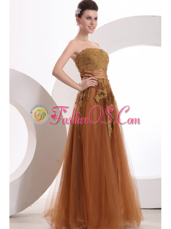 Popular Strapless Empire Floor-length Appliques Prom Dress in Brown