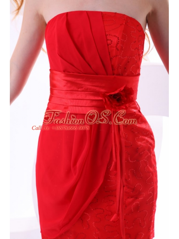 Red Column Strapless Mini-length Taffeta Beading Ruching Prom Dress