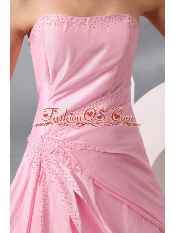 Rose Pink Strapless Ruching Brush Train Taffeta Prom Dress