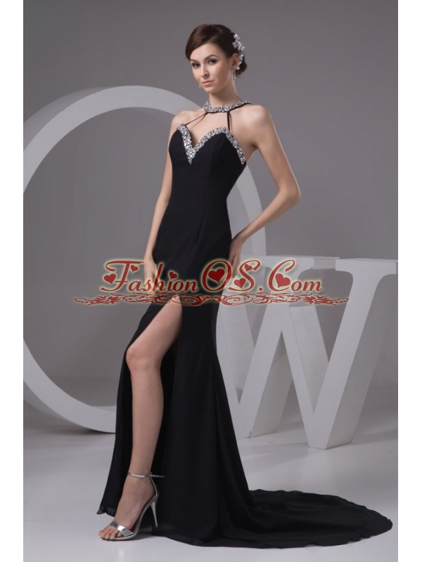 Sexy Empire Halter Beading Chiffon Prom Dress with Court Train